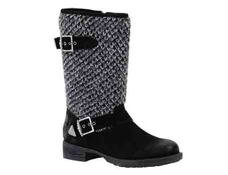 Aline 04 - Black Biker boot with stylish contrast upper materials. Trade £58.33 - RRP £140