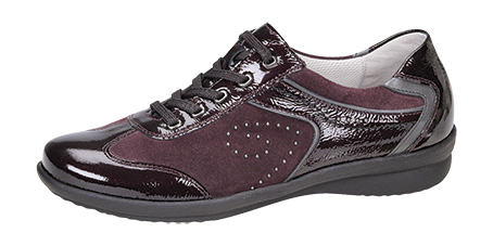 Style 214001.  Ladies Patent and Nubuck Sneaker G fitting,  removable insole, narrow heel fitting. Trade: £29.50 - Retail: £75.00