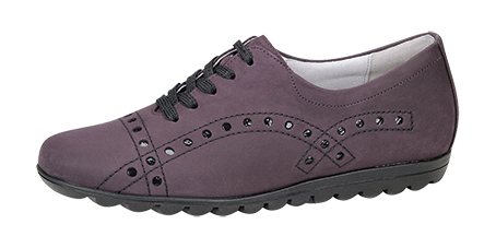 Style 531007.  Ladies Nubuck and Patent Sneaker H fitting, leather lined, removable insole, narrow heel fitting, ripple gummi sole.  Trade: £29.50 - Retail: £75.00
