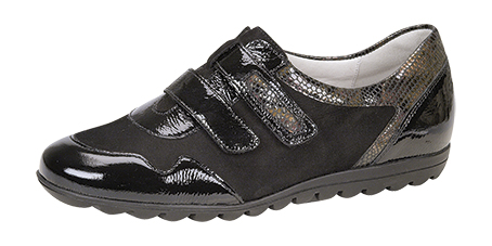 Style 531304.  Ladies Patent and Nubuck Sneaker. H fitting, removable insole, ripple sole, leather lined, narrow heel fitting, Velcro fastening.  Trade: £29.50 - Retail: £75.00