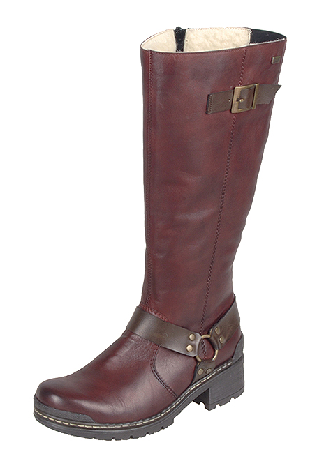 74370/35   Trade: £46.98 Red leather knee high biker style with contrast leather and buckle detailing at ankle and calf, contrast toe and heel guards, chunky sole and heel and sheepskin lining.