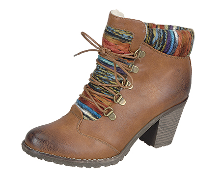 95323/22   Trade £27.95 Mid heel ankle in tan with hiker style lacing, burnished toe, cleated sole and Peruvian inspired knitted front and cuff.