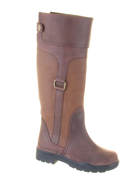 Aintree Brown:  100% Waterproof riding boot made from premium leather, with contrasting tumbled leather panels and antique brass buckle detail.  Trade Price: £62.50 - RRP: £110