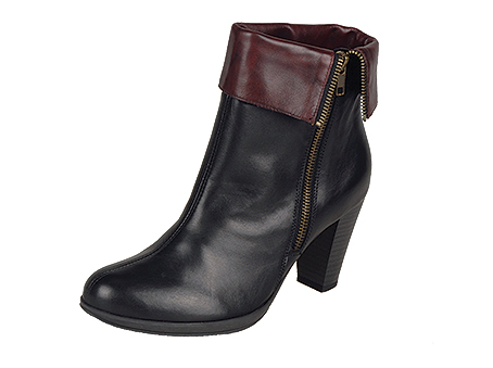 D0970/01   Trade £36.30 Elegant black leather ankle with small platform sole, stack look heel, zip access and fold-over contrast leather cuff.