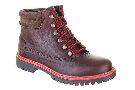 Millie Dark Brown:  Premium Tumbled leather walking boot with padded suede collar and contrast red lace. Hardwearing treaded rubber sole. Trade Price: £32.95 - RRP: £79.00