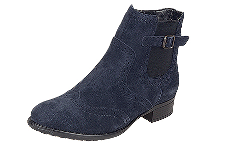 R6470/14   Trade £32.95 Blue suede pull-on Chelsea with classic detail, buckle strap and zip access.